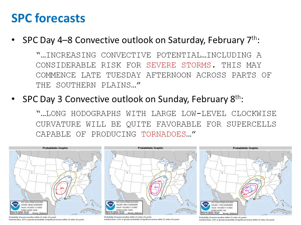 SPC Day 4–8 Convective outlook on Saturday, February 7 th : …INCREASING CONVECTIVE POTENTIAL…INCLUDING A CONSIDERABLE RISK FOR SEVERE STORMS.