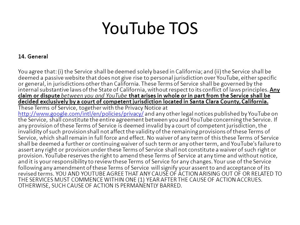 YouTube TOS 14.