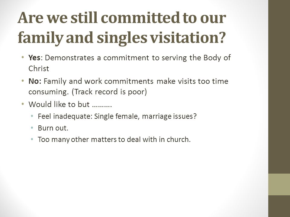 Are we still committed to our family and singles visitation.