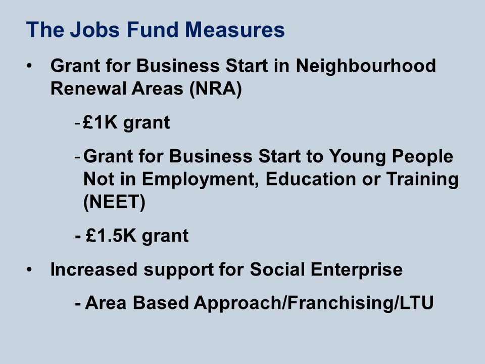 The Jobs Fund Measures Grant for Business Start in Neighbourhood Renewal Areas (NRA) -£1K grant -Grant for Business Start to Young People Not in Employment, Education or Training (NEET) - £1.5K grant Increased support for Social Enterprise - Area Based Approach/Franchising/LTU