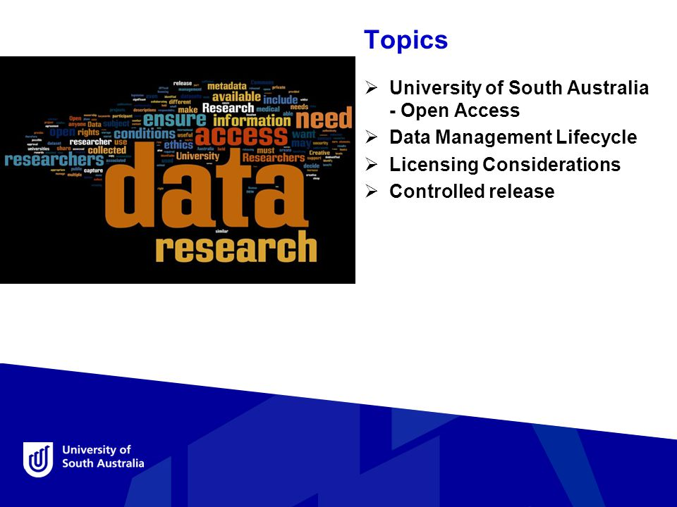 Topics  University of South Australia - Open Access  Data Management Lifecycle  Licensing Considerations  Controlled release