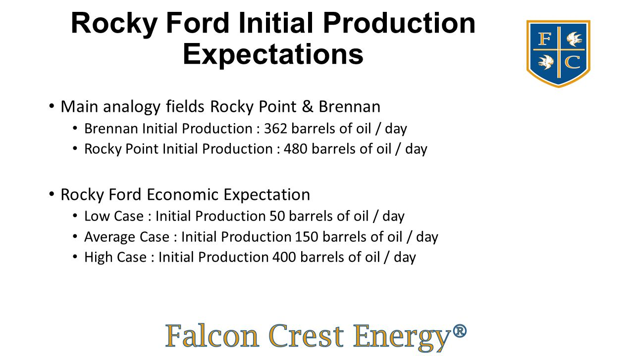 Rocky Ford Initial Production Expectations Main analogy fields Rocky Point & Brennan Brennan Initial Production : 362 barrels of oil / day Rocky Point
