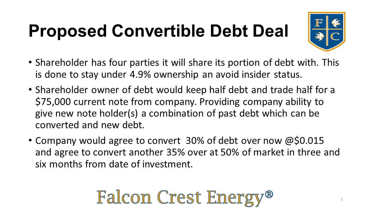 Proposed Convertible Debt Deal Shareholder has four parties it will share its portion of debt with. This is done to stay under 4.9% ownership an avoid