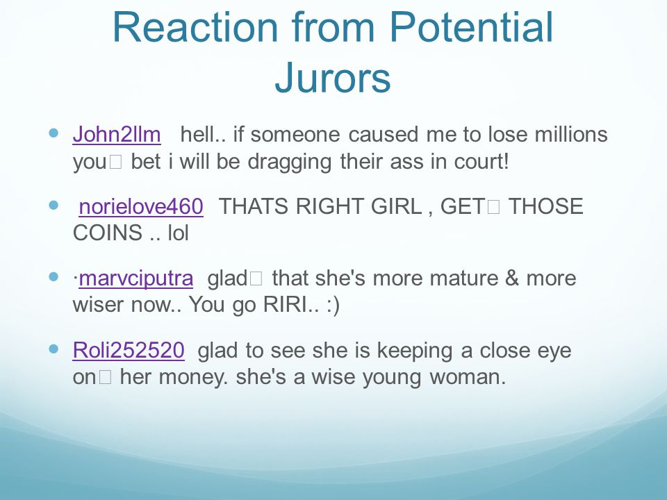 Reaction from Potential Jurors John2llm hell..
