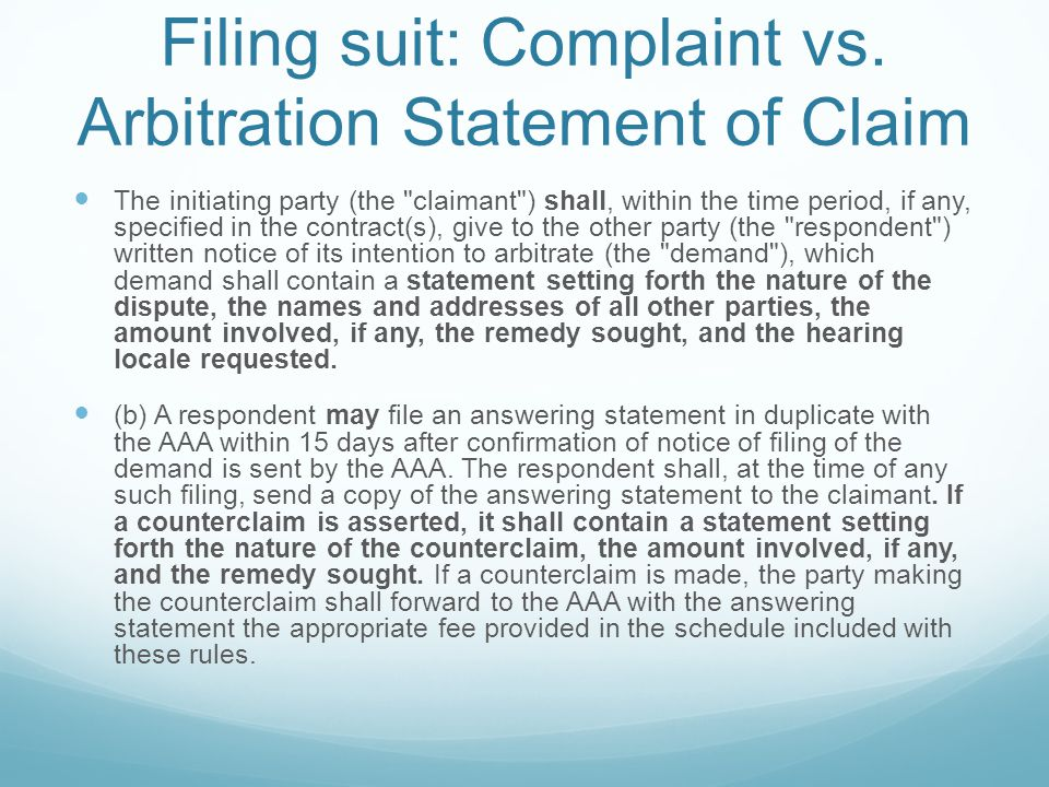 Filing suit: Complaint vs.