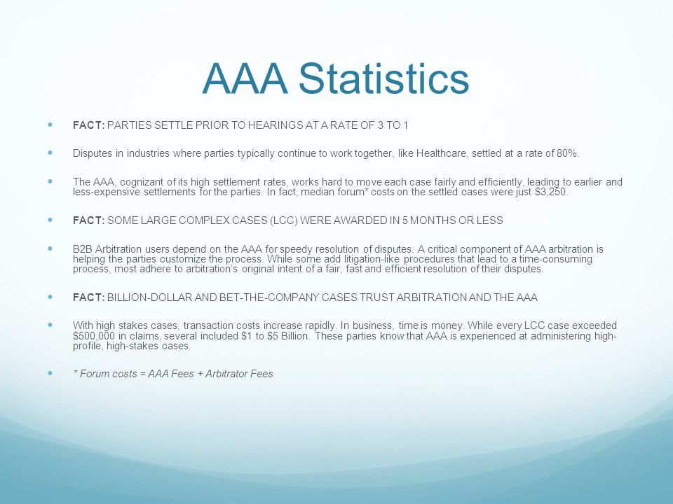 AAA Statistics FACT: PARTIES SETTLE PRIOR TO HEARINGS AT A RATE OF 3 TO 1 Disputes in industries where parties typically continue to work together, like Healthcare, settled at a rate of 80%.