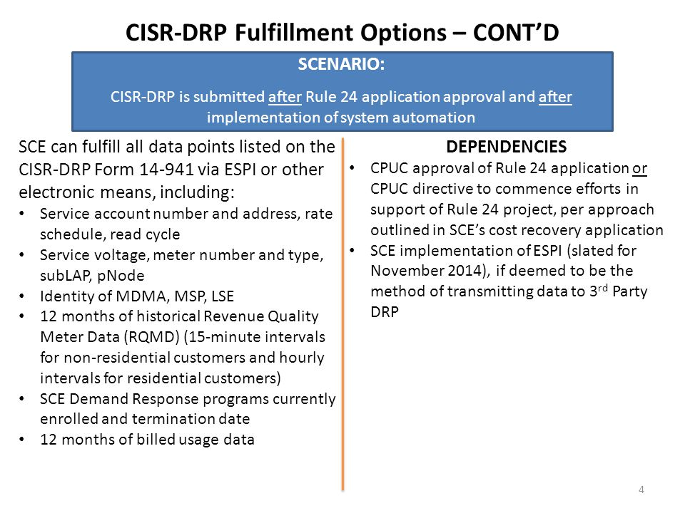CISR-DRP Fulfillment Options – CONT'D SCENARIO: CISR-DRP is submitted after Rule 24 application approval and after implementation of system automation SCE can fulfill all data points listed on the CISR-DRP Form 14-941 via ESPI or other electronic means, including: Service account number and address, rate schedule, read cycle Service voltage, meter number and type, subLAP, pNode Identity of MDMA, MSP, LSE 12 months of historical Revenue Quality Meter Data (RQMD) (15-minute intervals for non-residential customers and hourly intervals for residential customers) SCE Demand Response programs currently enrolled and termination date 12 months of billed usage data DEPENDENCIES CPUC approval of Rule 24 application or CPUC directive to commence efforts in support of Rule 24 project, per approach outlined in SCE's cost recovery application SCE implementation of ESPI (slated for November 2014), if deemed to be the method of transmitting data to 3 rd Party DRP 4