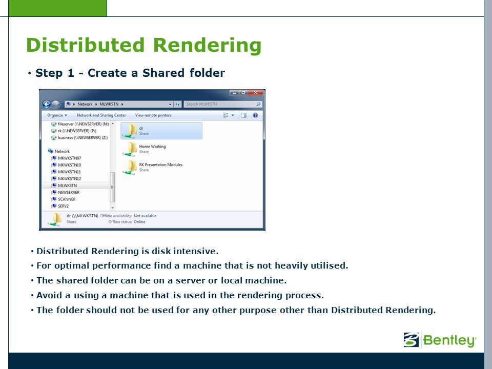 Distributed Rendering Step 2 – Sharing the Shared folder Right Click on the Folder and select Properties (Windows XP – other OS may vary).