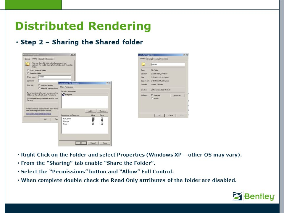 Distributed Rendering Step 3 – Start the Process Controller From the Start Menu > Bentley start the Process Controller for Distributed Rendering Edit the Shared Directory path by selecting the folder created in Step 1.