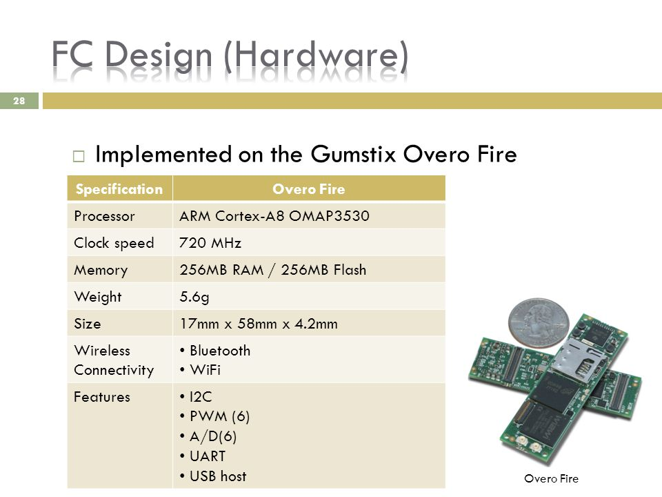 28  Implemented on the Gumstix Overo Fire SpecificationOvero Fire ProcessorARM Cortex-A8 OMAP3530 Clock speed720 MHz Memory256MB RAM / 256MB Flash We