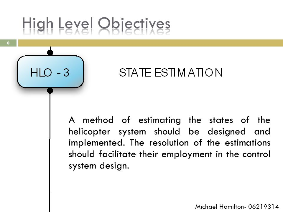 8 A method of estimating the states of the helicopter system should be designed and implemented.