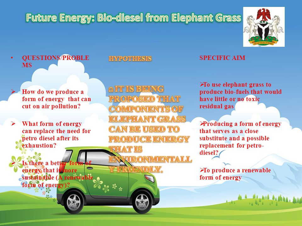 QUESTIONS/PROBLE MS  How do we produce a form of energy that can cut on air pollution.