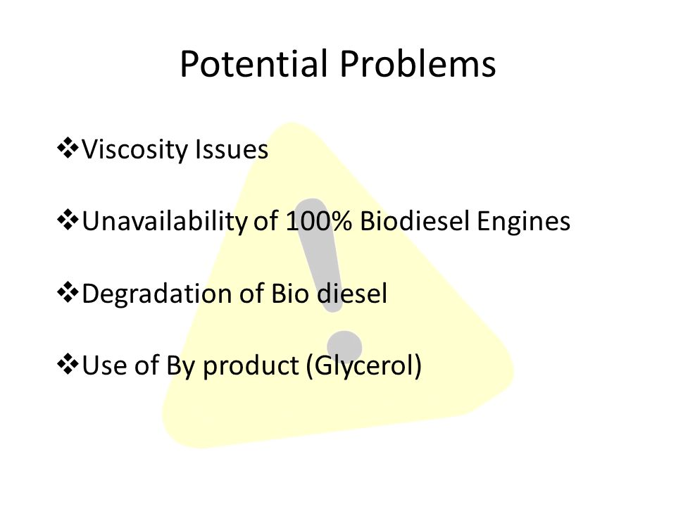  Viscosity Issues  Unavailability of 100% Biodiesel Engines  Degradation of Bio diesel  Use of By product (Glycerol) Potential Problems