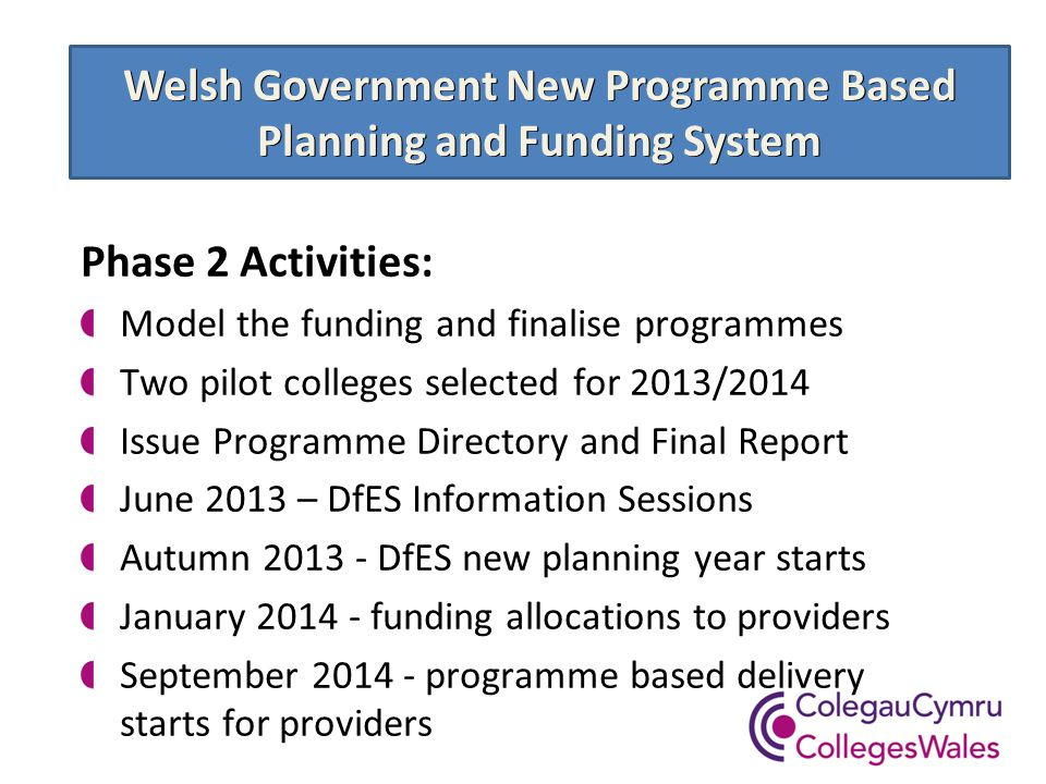 Welsh Government New Programme Based Planning and Funding System Phase 2 Activities: Model the funding and finalise programmes Two pilot colleges selected for 2013/2014 Issue Programme Directory and Final Report June 2013 – DfES Information Sessions Autumn 2013 - DfES new planning year starts January 2014 - funding allocations to providers September 2014 - programme based delivery starts for providers