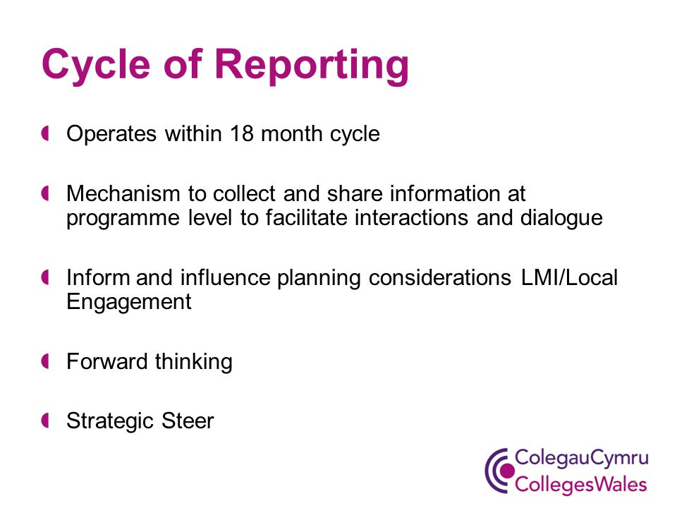 Cycle of Reporting Operates within 18 month cycle Mechanism to collect and share information at programme level to facilitate interactions and dialogue Inform and influence planning considerations LMI/Local Engagement Forward thinking Strategic Steer 7
