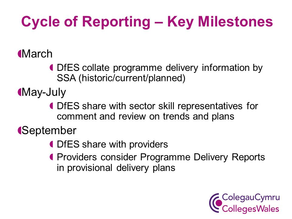 March DfES collate programme delivery information by SSA (historic/current/planned) May-July DfES share with sector skill representatives for comment and review on trends and plans September DfES share with providers Providers consider Programme Delivery Reports in provisional delivery plans Cycle of Reporting – Key Milestones 9
