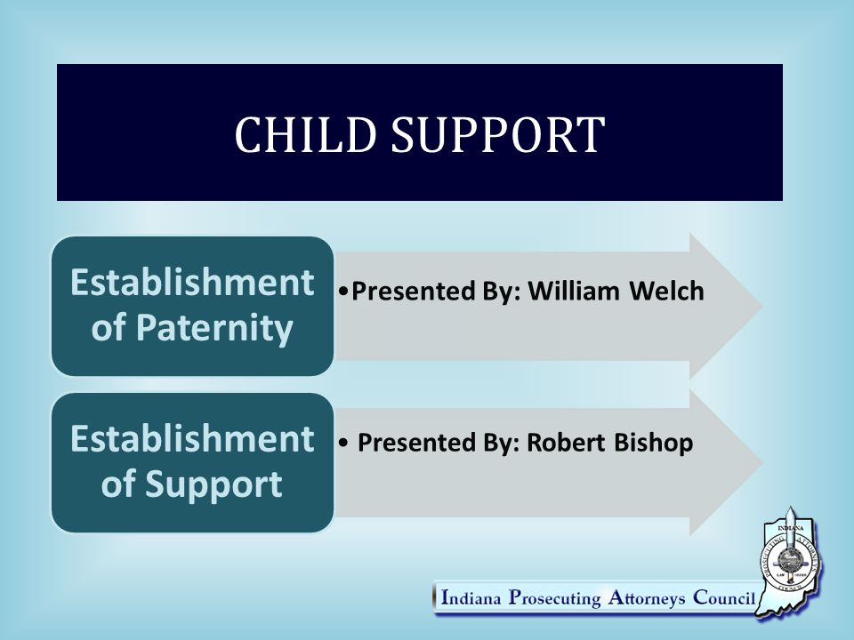 CHILD SUPPORT William Welch Staff Attorney, IPAC Phone – 812/232-1836 Email – wwelch@ipac.in.govwwelch@ipac.in.gov