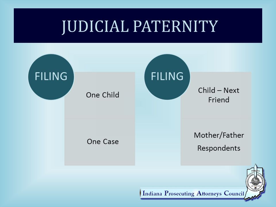 JUDICIAL PATERNITY One Child One Case FILING Child – Next Friend Mother/Father Respondents FILING