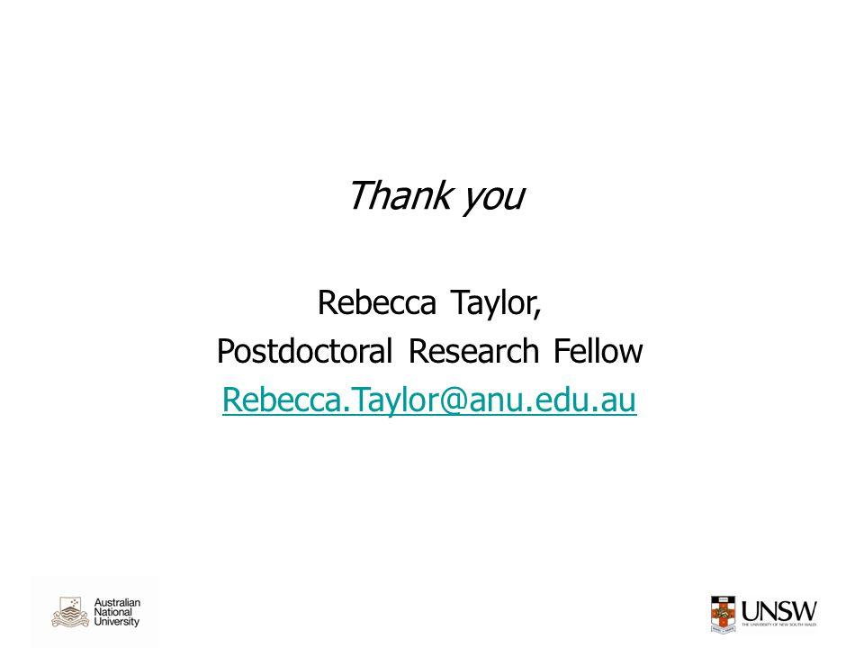 Thank you Rebecca Taylor, Postdoctoral Research Fellow Rebecca.Taylor@anu.edu.au