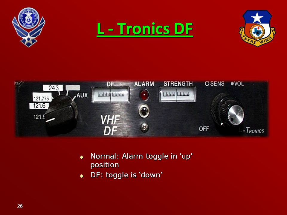26 L - Tronics DF  Normal: Alarm toggle in 'up' position  DF: toggle is 'down'