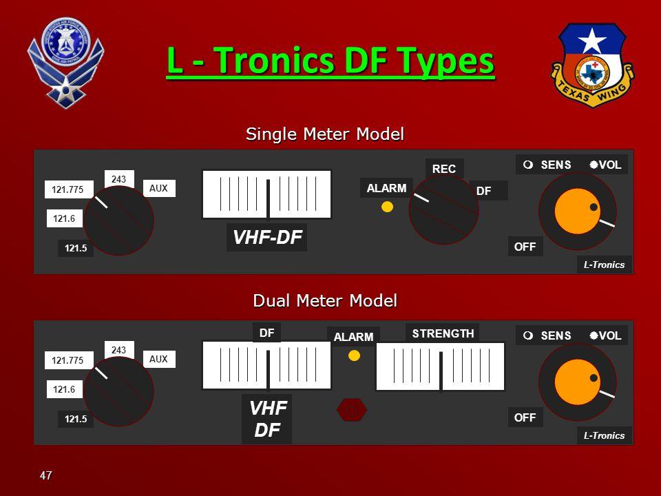 47 L - Tronics DF Types Single Meter Model Dual Meter Model L-Tronics ALARM OFF 243 121.6 121.775 AUX 121.5   SENS  VOL VHF DF DF STRENGTH L-Tronics ALARM OFF   SENS  VOL VHF-DF 243 121.6 121.775 AUX 121.5 DF REC