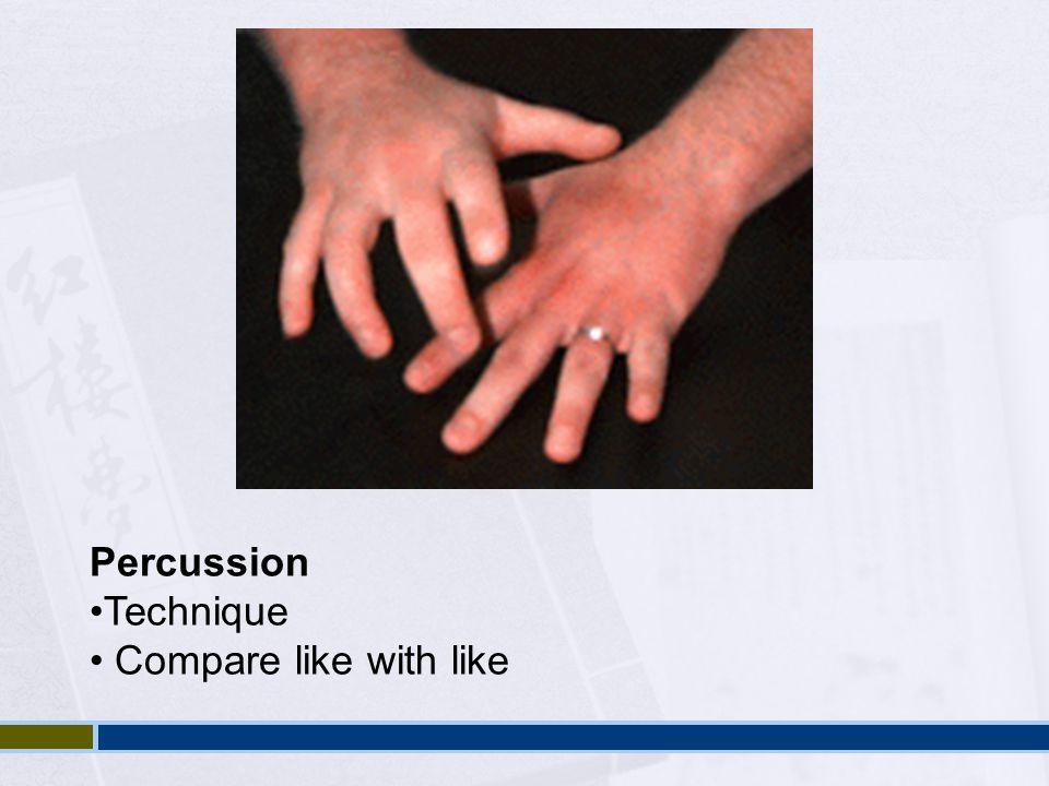Percussion Technique Compare like with like