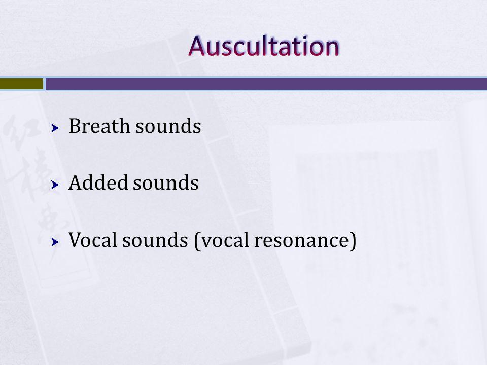  Breath sounds  Added sounds  Vocal sounds (vocal resonance)
