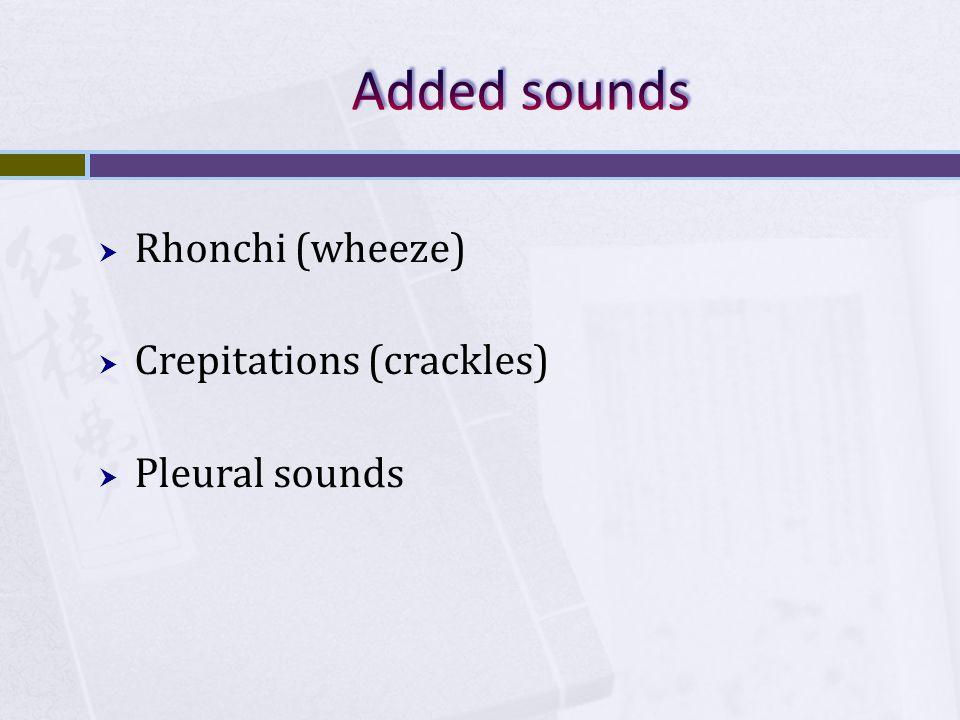  Rhonchi (wheeze)  Crepitations (crackles)  Pleural sounds