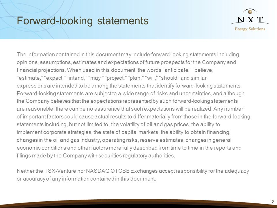 Forward-looking statements The information contained in this document may include forward-looking statements including opinions, assumptions, estimates and expectations of future prospects for the Company and financial projections.
