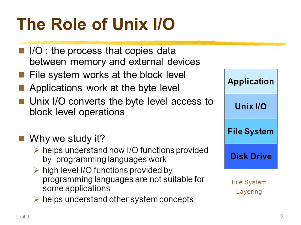Unit 9 3 The Role of Unix I/O I/O : the process that copies data between memory and external devices File system works at the block level Applications work at the byte level Unix I/O converts the byte level access to block level operations Why we study it.