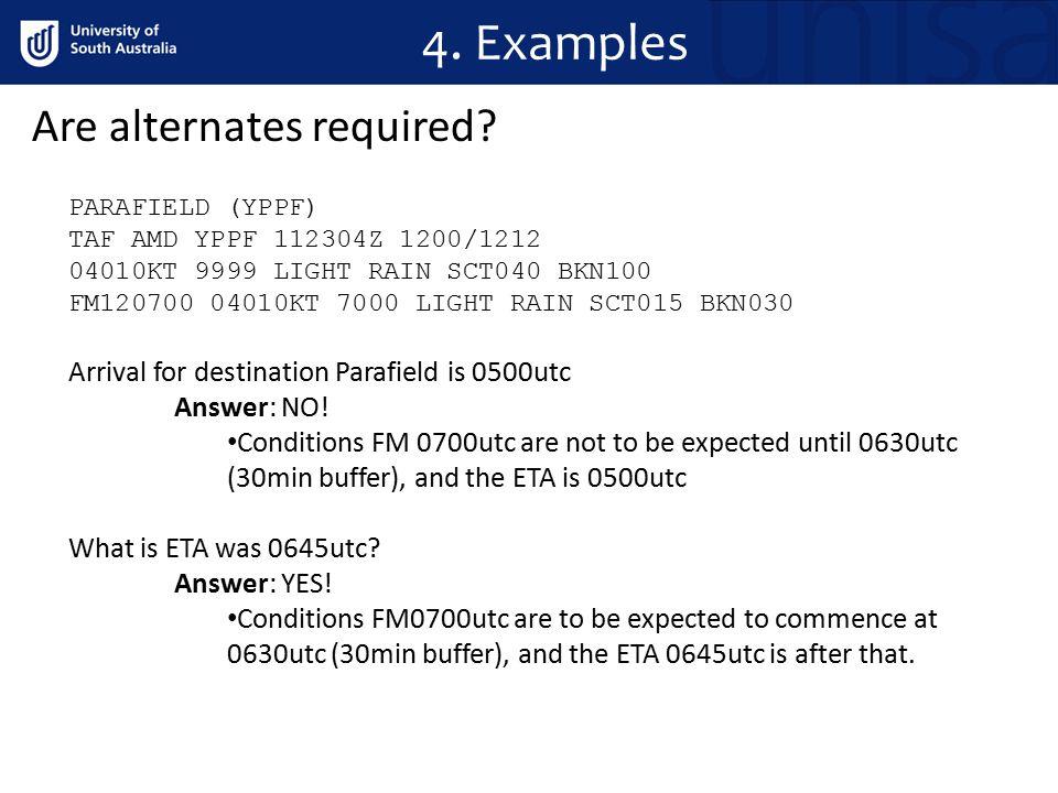 4. Examples PARAFIELD (YPPF) TAF AMD YPPF 112304Z 1200/1212 04010KT 9999 LIGHT RAIN SCT040 BKN100 FM120700 04010KT 7000 LIGHT RAIN SCT015 BKN030 Arriv