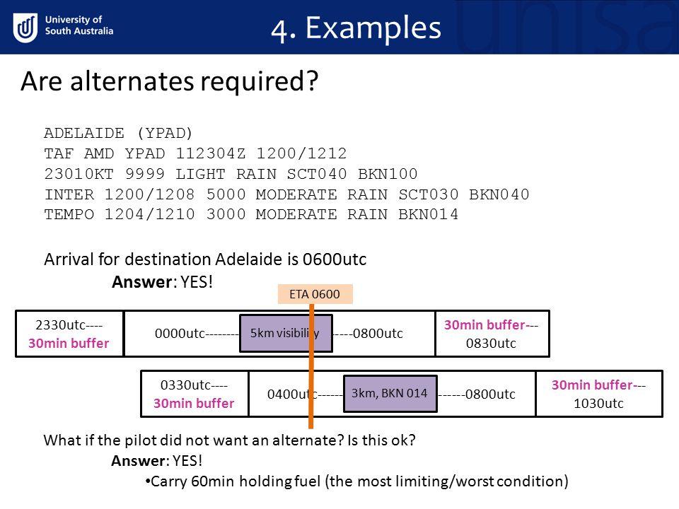 4. Examples ADELAIDE (YPAD) TAF AMD YPAD 112304Z 1200/1212 23010KT 9999 LIGHT RAIN SCT040 BKN100 INTER 1200/1208 5000 MODERATE RAIN SCT030 BKN040 TEMP