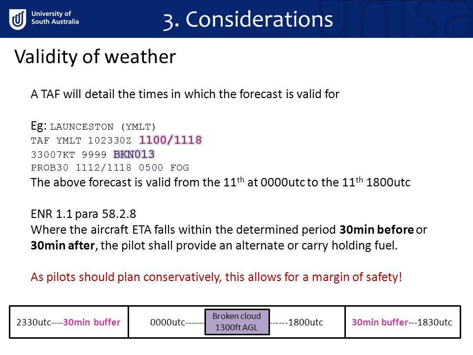 3. Considerations Validity of weather 0000utc---------------------------------1800utc30min buffer---1830utc2330utc----30min buffer Broken cloud 1300ft
