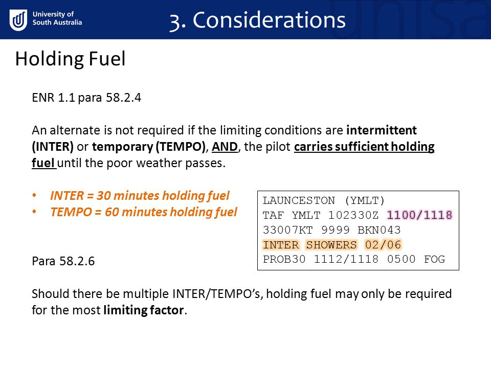 3. Considerations ENR 1.1 para 58.2.4 An alternate is not required if the limiting conditions are intermittent (INTER) or temporary (TEMPO), AND, the