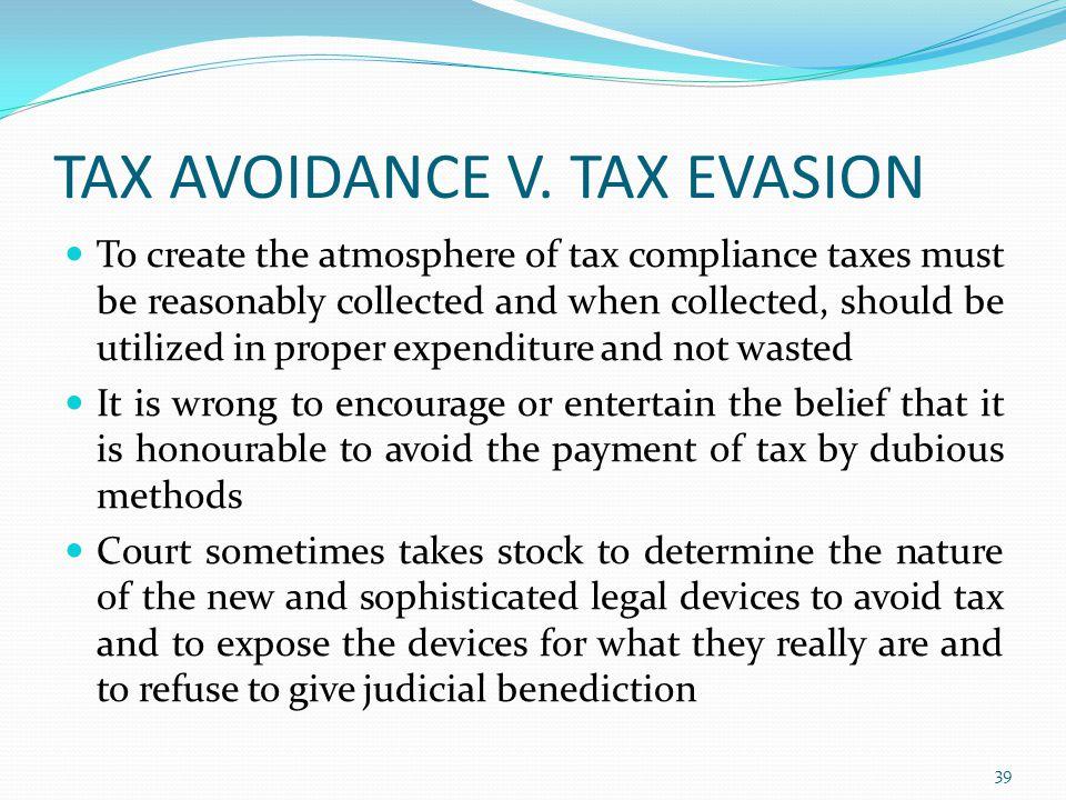 TAX AVOIDANCE V.