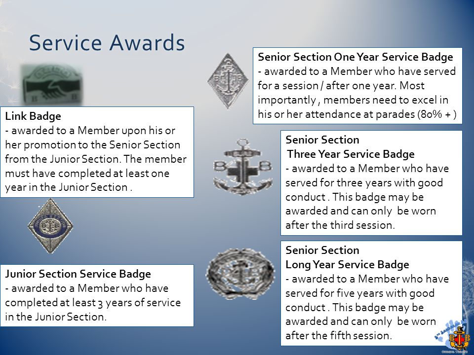 Service AwardsService Awards Link Badge - awarded to a Member upon his or her promotion to the Senior Section from the Junior Section. The member must
