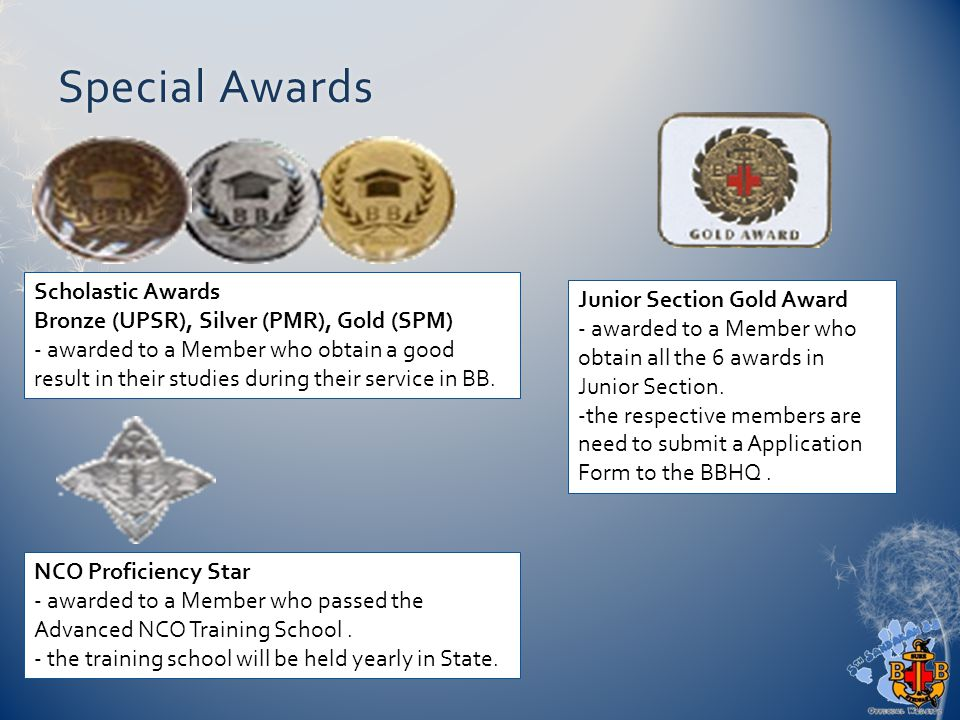 Special AwardsSpecial Awards Scholastic Awards Bronze (UPSR), Silver (PMR), Gold (SPM) - awarded to a Member who obtain a good result in their studies during their service in BB.