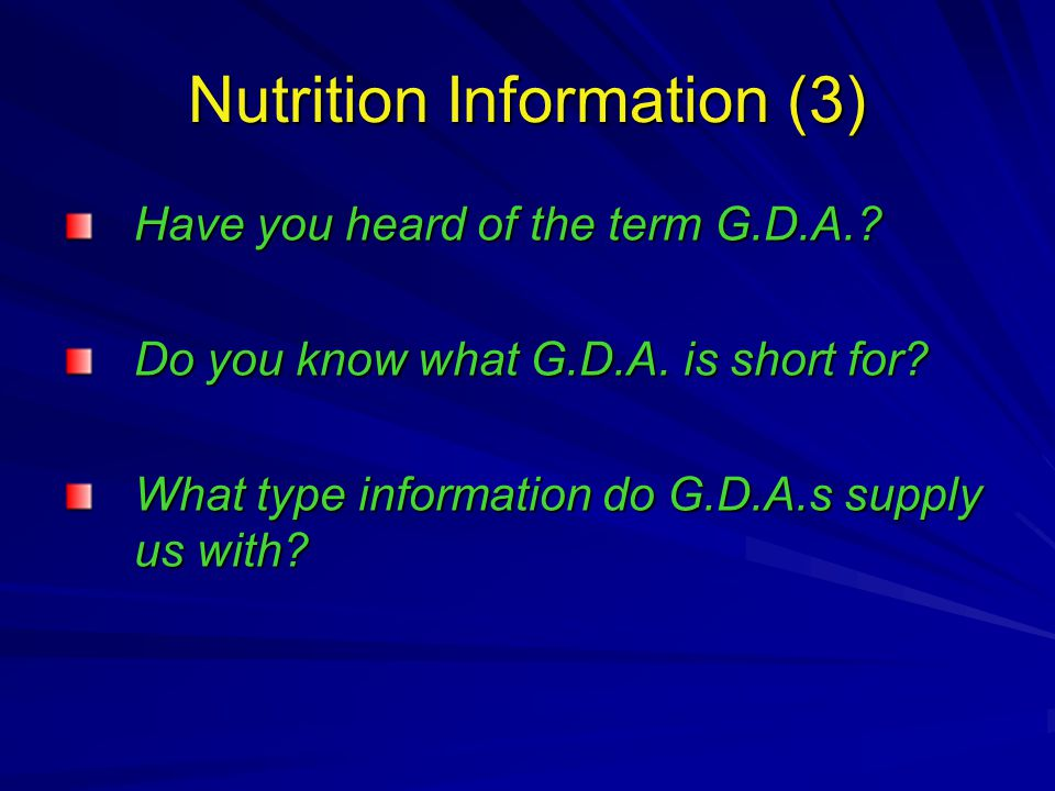 Have you heard of the term G.D.A.. Do you know what G.D.A.
