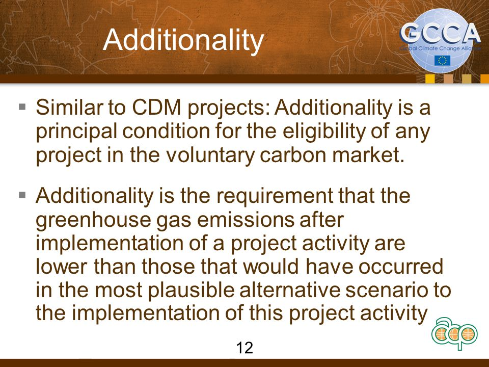 Additionality  Similar to CDM projects: Additionality is a principal condition for the eligibility of any project in the voluntary carbon market.