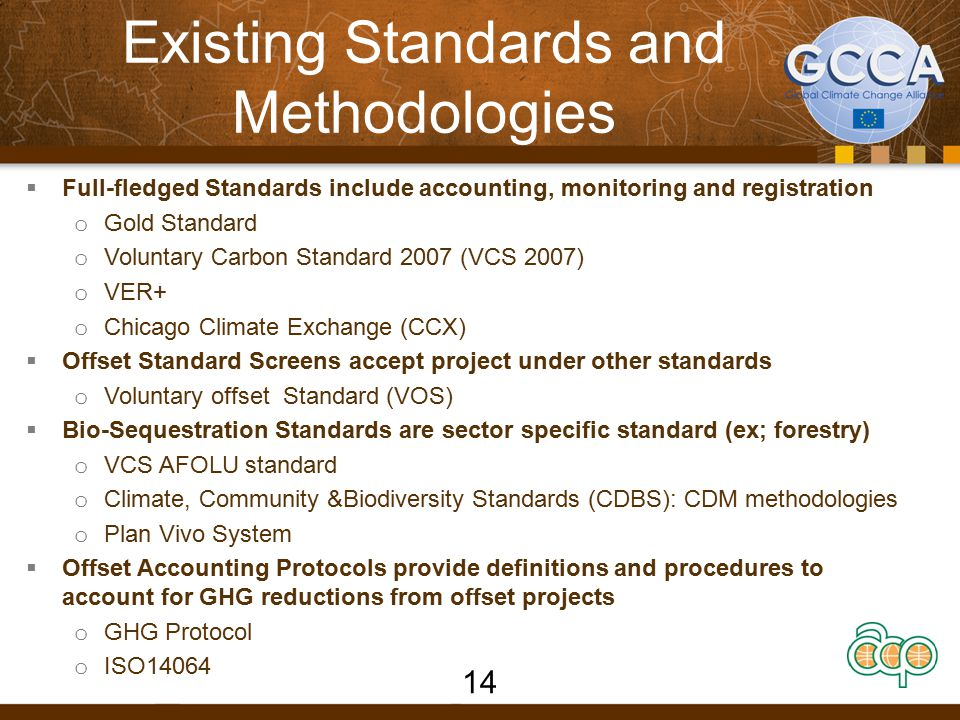 Existing Standards and Methodologies  Full-fledged Standards include accounting, monitoring and registration o Gold Standard o Voluntary Carbon Standard 2007 (VCS 2007) o VER+ o Chicago Climate Exchange (CCX)  Offset Standard Screens accept project under other standards o Voluntary offset Standard (VOS)  Bio-Sequestration Standards are sector specific standard (ex; forestry) o VCS AFOLU standard o Climate, Community &Biodiversity Standards (CDBS): CDM methodologies o Plan Vivo System  Offset Accounting Protocols provide definitions and procedures to account for GHG reductions from offset projects o GHG Protocol o ISO14064 14