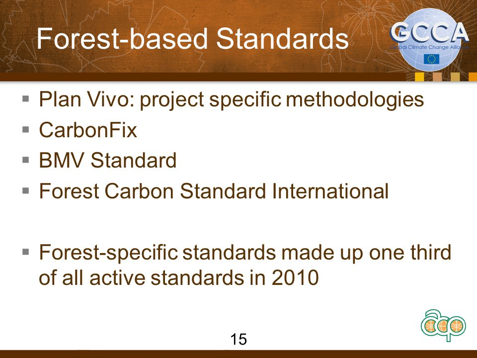 Forest-based Standards  Plan Vivo: project specific methodologies  CarbonFix  BMV Standard  Forest Carbon Standard International  Forest-specific standards made up one third of all active standards in 2010 15