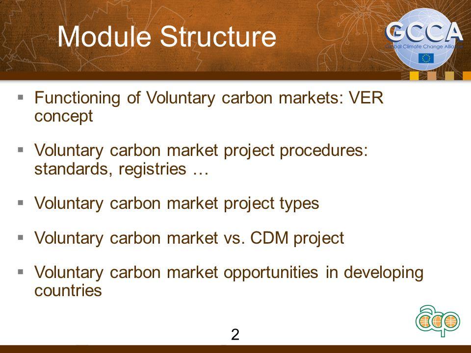 Module Structure  Functioning of Voluntary carbon markets: VER concept  Voluntary carbon market project procedures: standards, registries …  Voluntary carbon market project types  Voluntary carbon market vs.