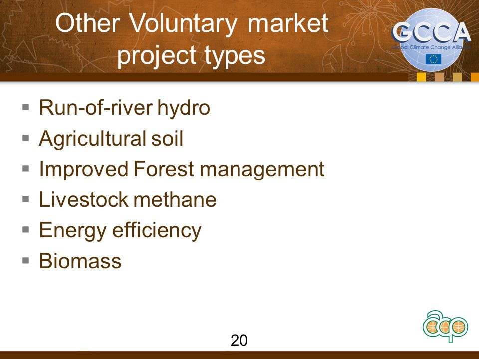 Other Voluntary market project types  Run-of-river hydro  Agricultural soil  Improved Forest management  Livestock methane  Energy efficiency  Biomass 20