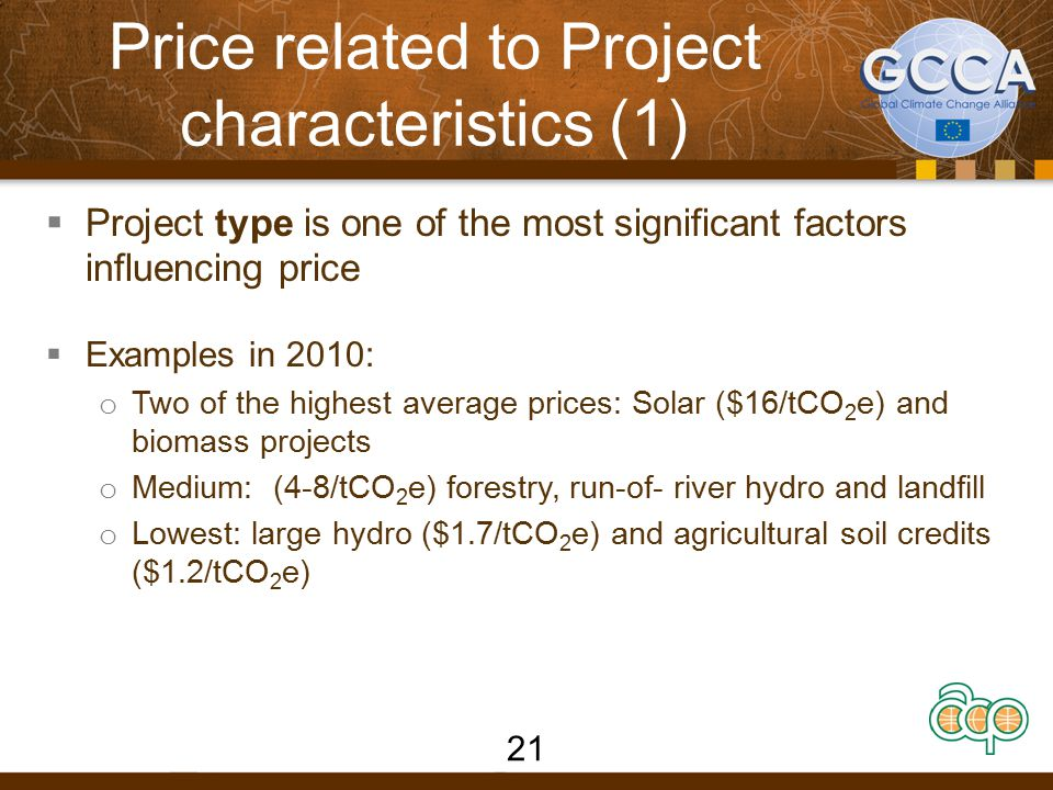 Price related to Project characteristics (1)  Project type is one of the most significant factors influencing price  Examples in 2010: o Two of the