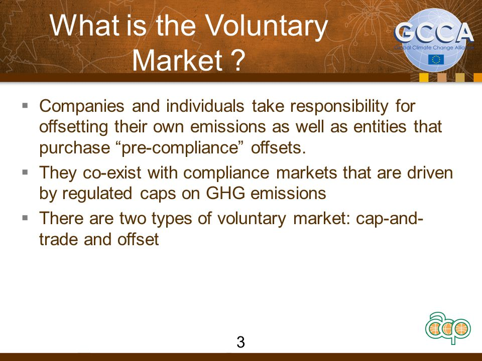 """What is the Voluntary Market ?  Companies and individuals take responsibility for offsetting their own emissions as well as entities that purchase """"p"""
