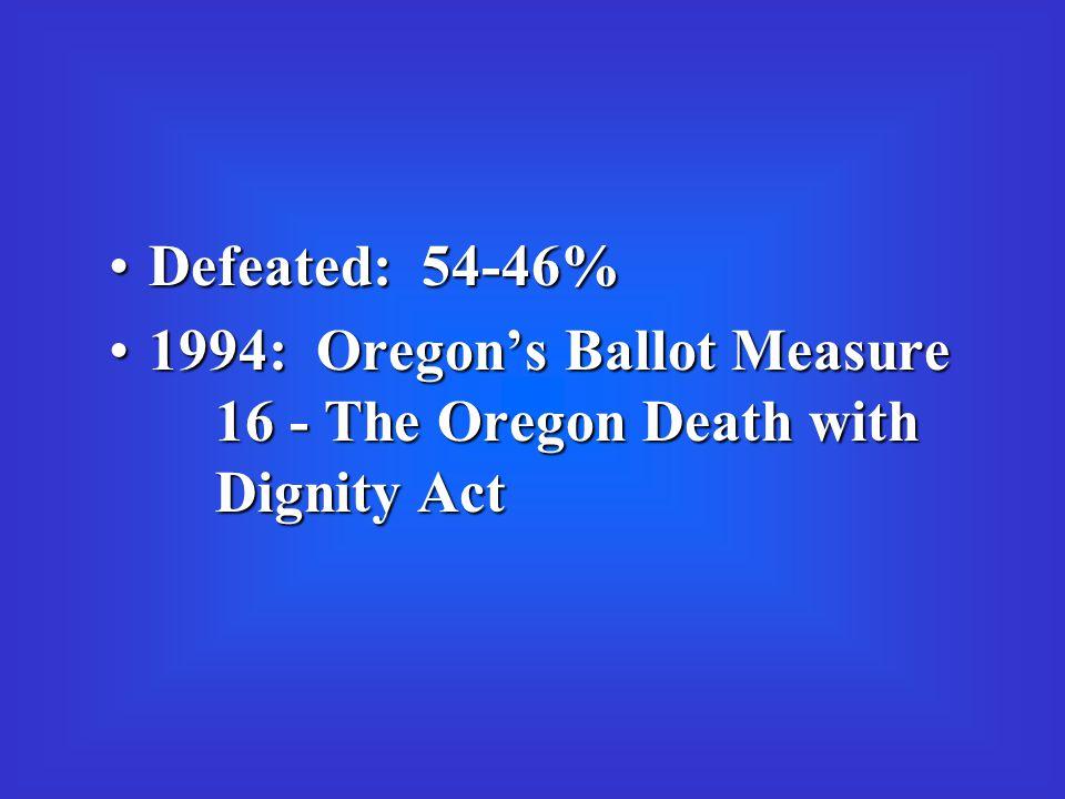 Defeated: 54-46%Defeated: 54-46% 1994: Oregon's Ballot Measure 16 - The Oregon Death with Dignity Act1994: Oregon's Ballot Measure 16 - The Oregon Death with Dignity Act