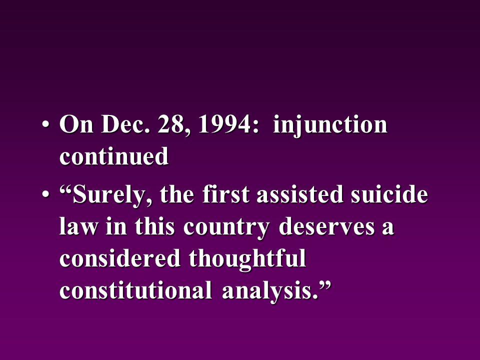 On Dec. 28, 1994: injunction continuedOn Dec.