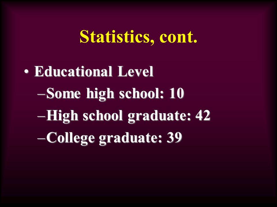 Statistics, cont.