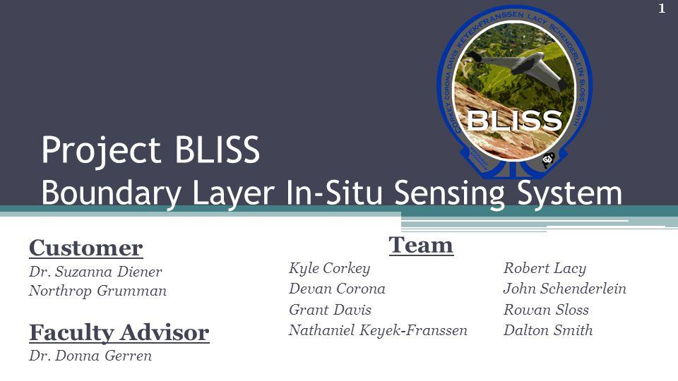 Project BLISS Boundary Layer In-Situ Sensing System Kyle Corkey Devan Corona Grant Davis Nathaniel Keyek-Franssen Customer Dr. Suzanna Diener Northrop