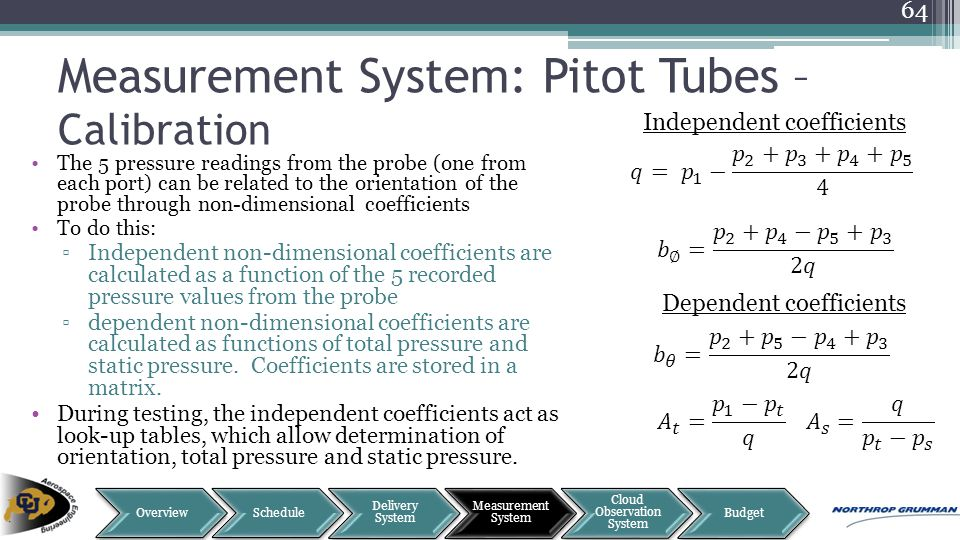 Measurement System: Pitot Tubes – Calibration The 5 pressure readings from the probe (one from each port) can be related to the orientation of the pro